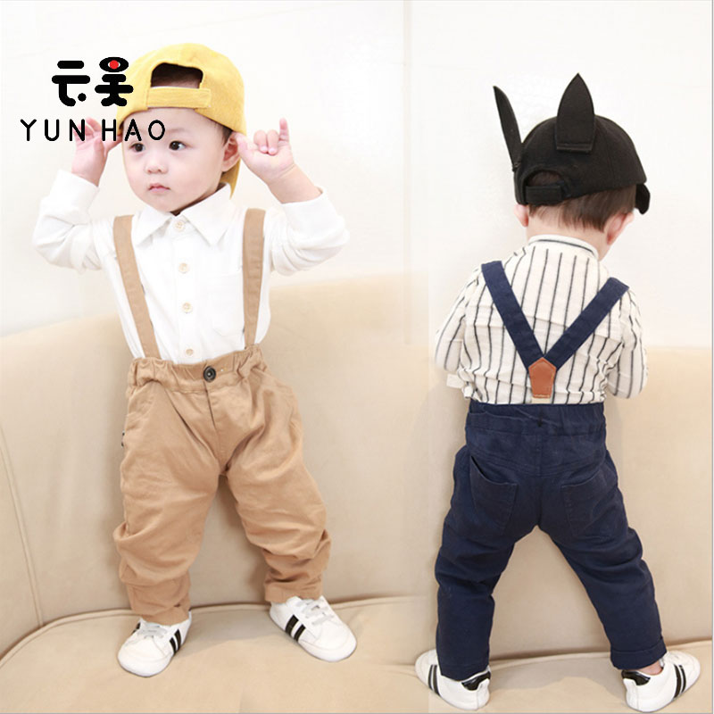 Spring and Autumn all-match boy clothes casual suspenders baby boy pants