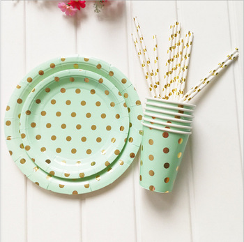 Hot Sale Gold Dot Christmas Decoration Healthy Easy Clean Paper Plate set for party