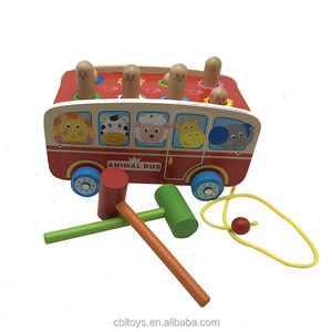 Wooden animal bus whack-a-mole construction time play set educational preschool wooden toys CBL3155