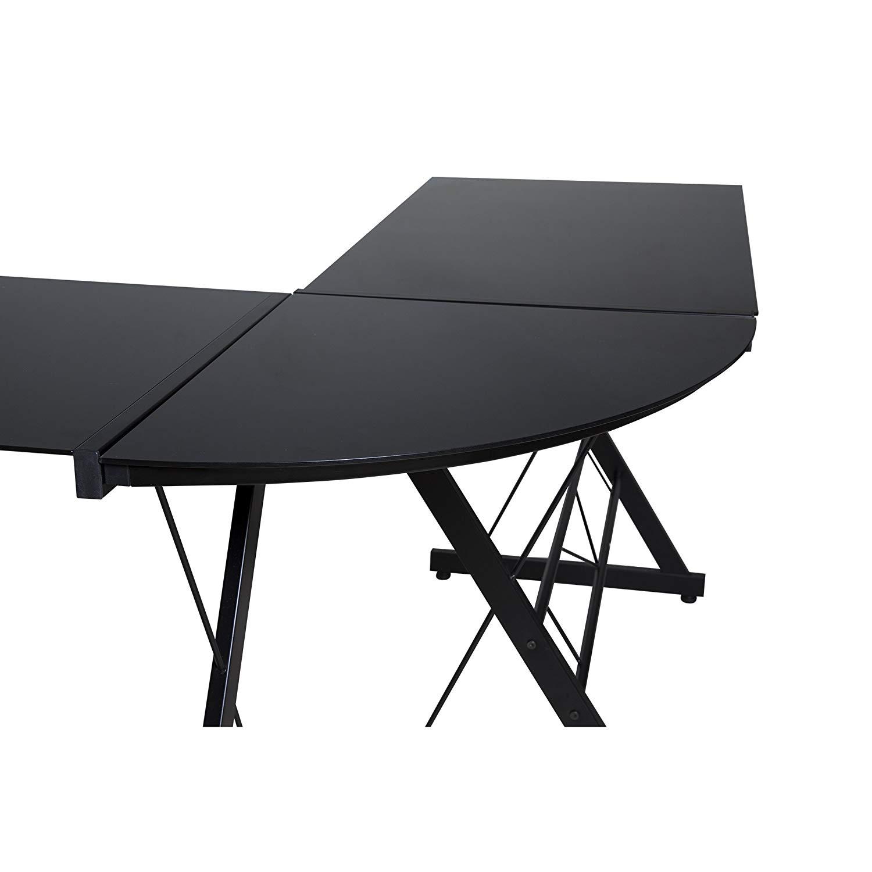 MyEasyShopping Black Glass-top L-shaped Desk L Shaped Desk Bestar Computer Black