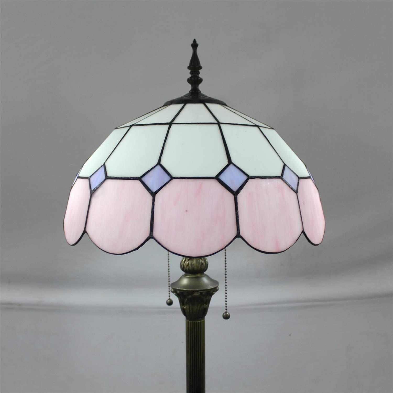 16-Inch Mediterranean European Pastoral Style Elegant Luxury Creative Handmade Stained Glass Floor Lamp - Green