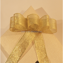 Hot sale nice quality rigid gold ribbon bow