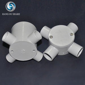 Useful gray pvc pipe fitting connector wire box four way cross tee
