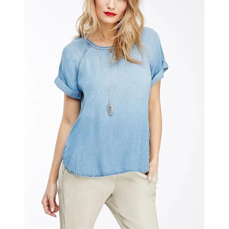 ff31cfb2e834 Get Quotations · Summer Women Vintage Washed Roll Up Short Sleeve Denim T-Shirt  2015 Ladies New Irregular