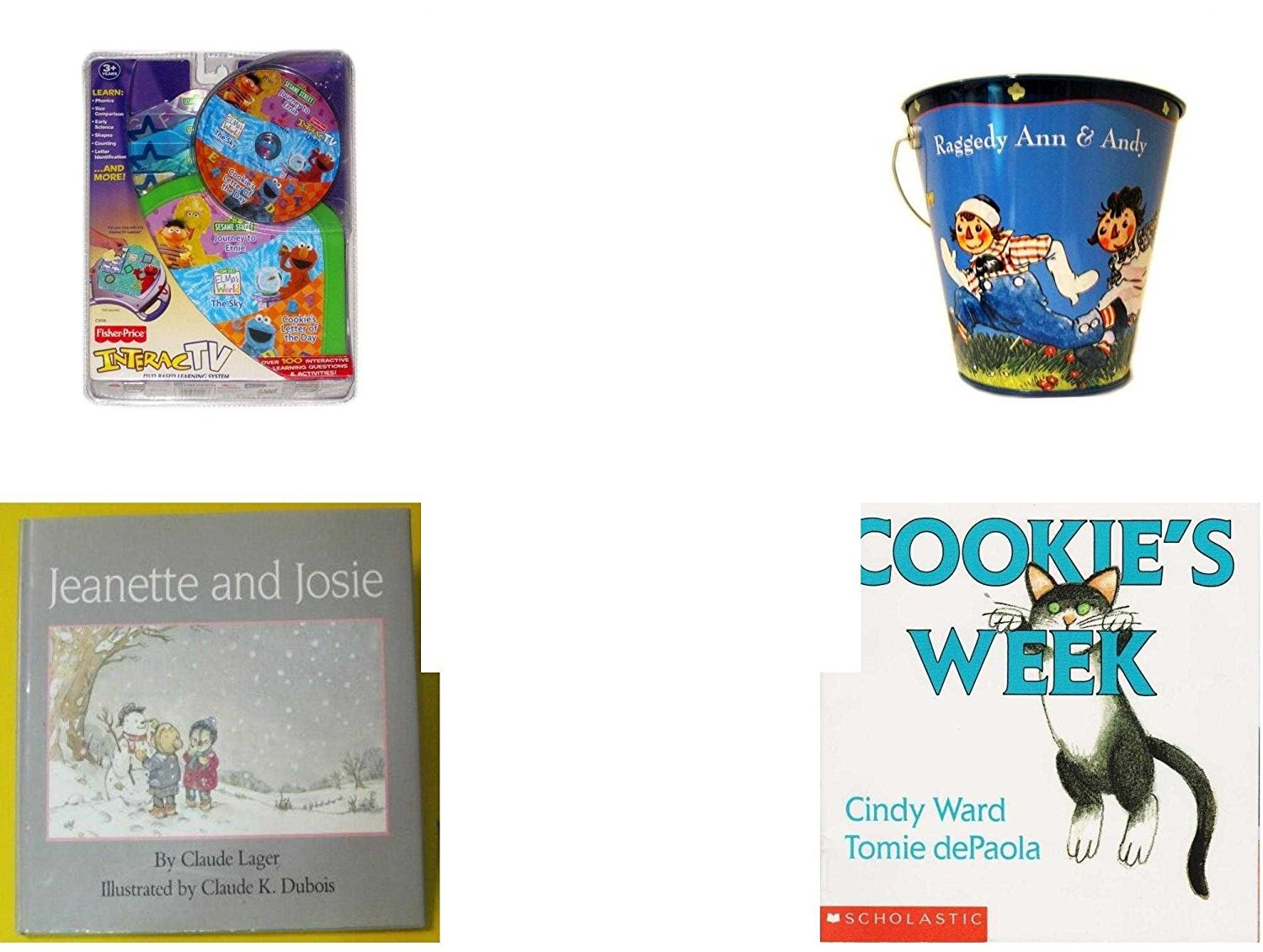 Children's Gift Bundle - Ages 3-5 [5 Piece] - InteracTV Sesame Street Volume 1 - Raggedy Ann & Andy Tin Pail Toy - Ty Teenie Beanie Nuts the Squirrel - Jeanette and Josie Hardcover Book - Cookie's W
