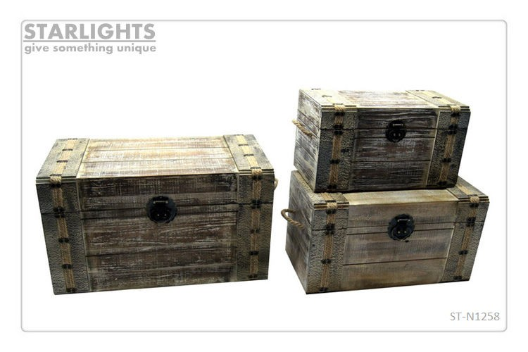 handmade decorative antique solid wooden storage trunk
