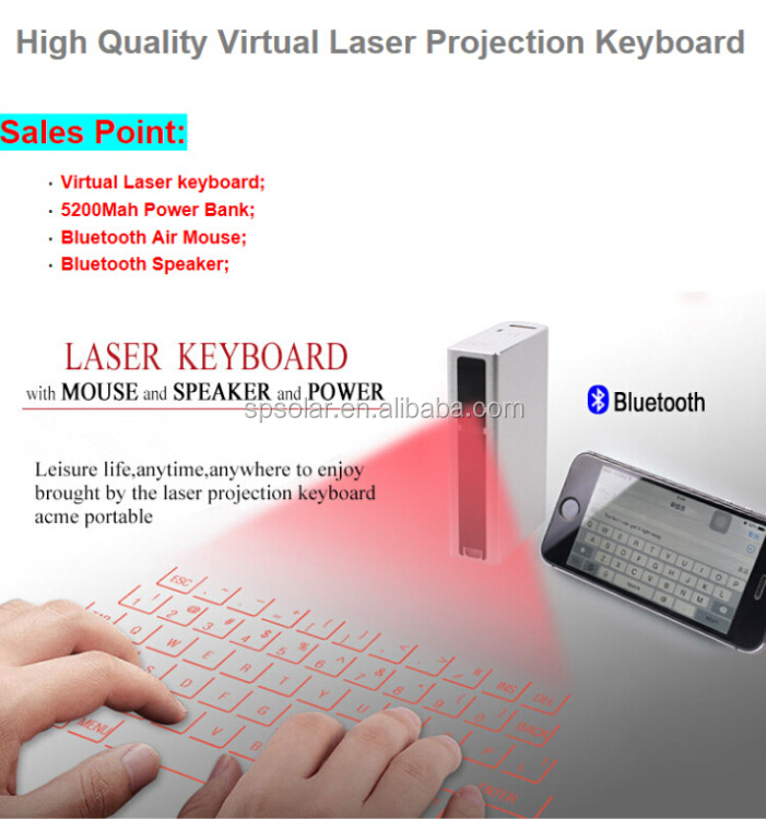 Newest laser keyboard with 5200mAH power bank with mouse and bluetooth speaker function for Ipad,tablet pc