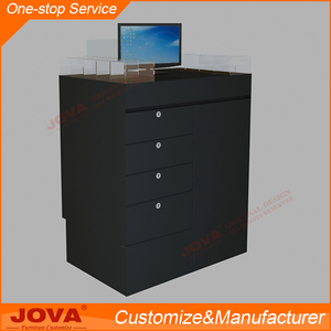 Modern customized black wood and glass free standing laptop computer display stand and cabinet with drawers