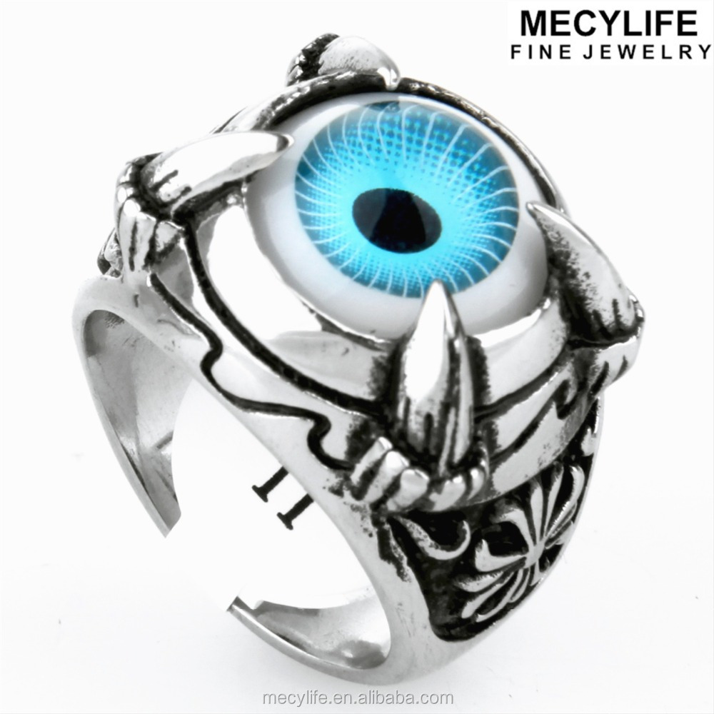 MECYLIFE Stainless Steel Turkish Eye Man Ring