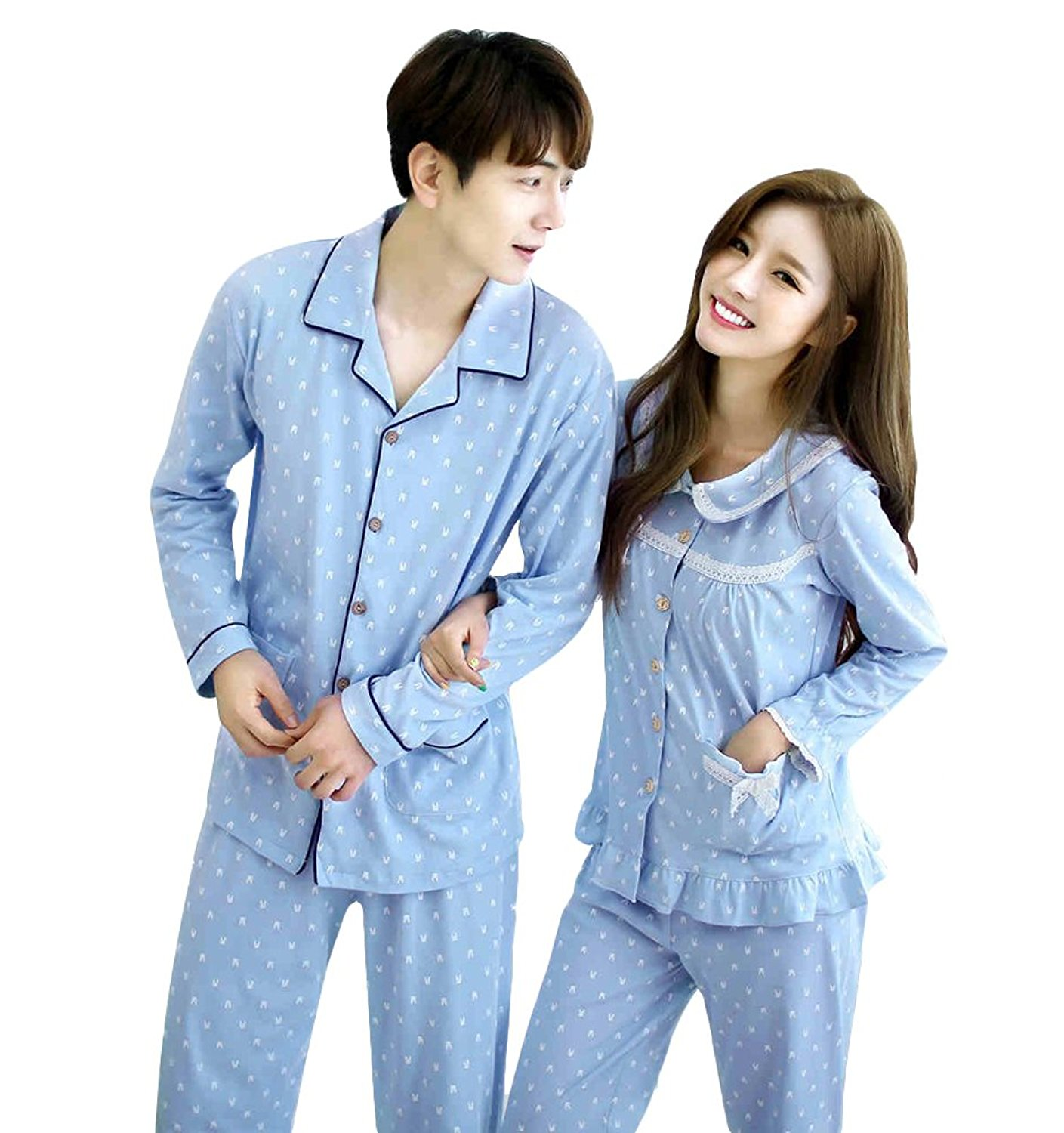 587139d6ac Get Quotations · Nueking Long Sleeve Casual Matching Couples Cotton Men  Women Pajamas Set