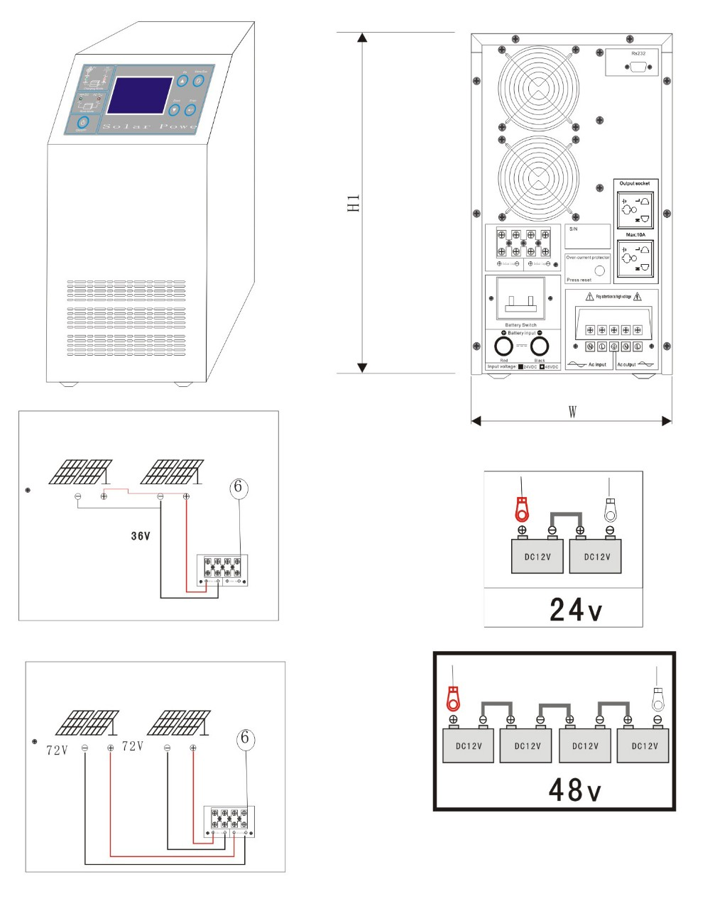 ups function solar inverter with controller built in for pv system easy connection