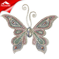 Butterfly motif hot fix pearls rhinestone stud embellishment