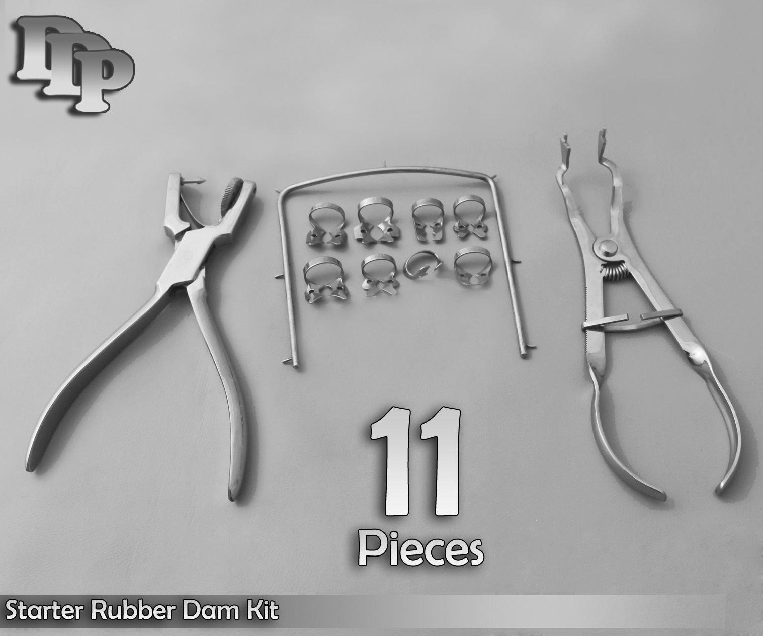 ODM 11 Pcs of Starter Rubber Dam Kit Stainless Steel