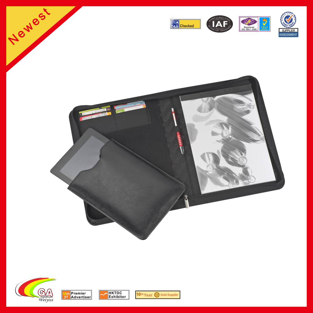 New Design PU Leather Portfolio With Card Holders and Ipad Case
