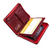 Top Quality Black Fashion Personalized A4 Leather Portfolio Folder With Zipper Closure For ipad