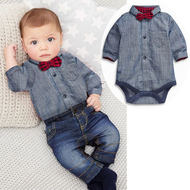 4e84c6cb3e961 US $15.9 30% OFF|Spring Baby Boys Clothes Bow Tie Romper+Jean 2pcs set for  boys man Clothing Kids Tracksuit Fashion Cotton Children Outfits A097-in ...