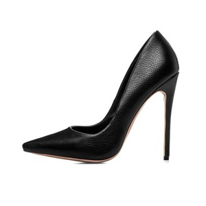 2018 light leather thin heels ladies office black dress shoes 12cm high heel