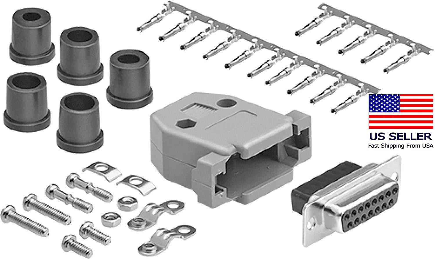 CompuCablePlusUSA.com Best DB25 Male Connector Kit DB25 Male Crimp Type Metal Hood+25 Gold Plated Pro D-Sub Male Pins+Strain Relief Grommet Most Complete DB25 Connector Kit Set