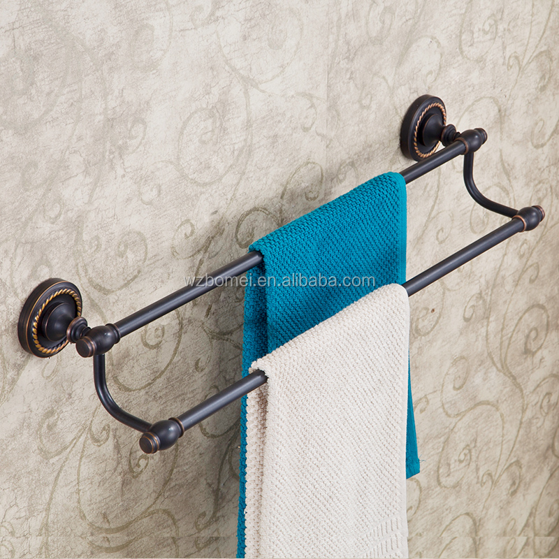 Household Hotel Bathroom Accessories Wall Mounted ORB Brass Towel Bar BM108 Double Towel Bar Oil Rubbed Bronze
