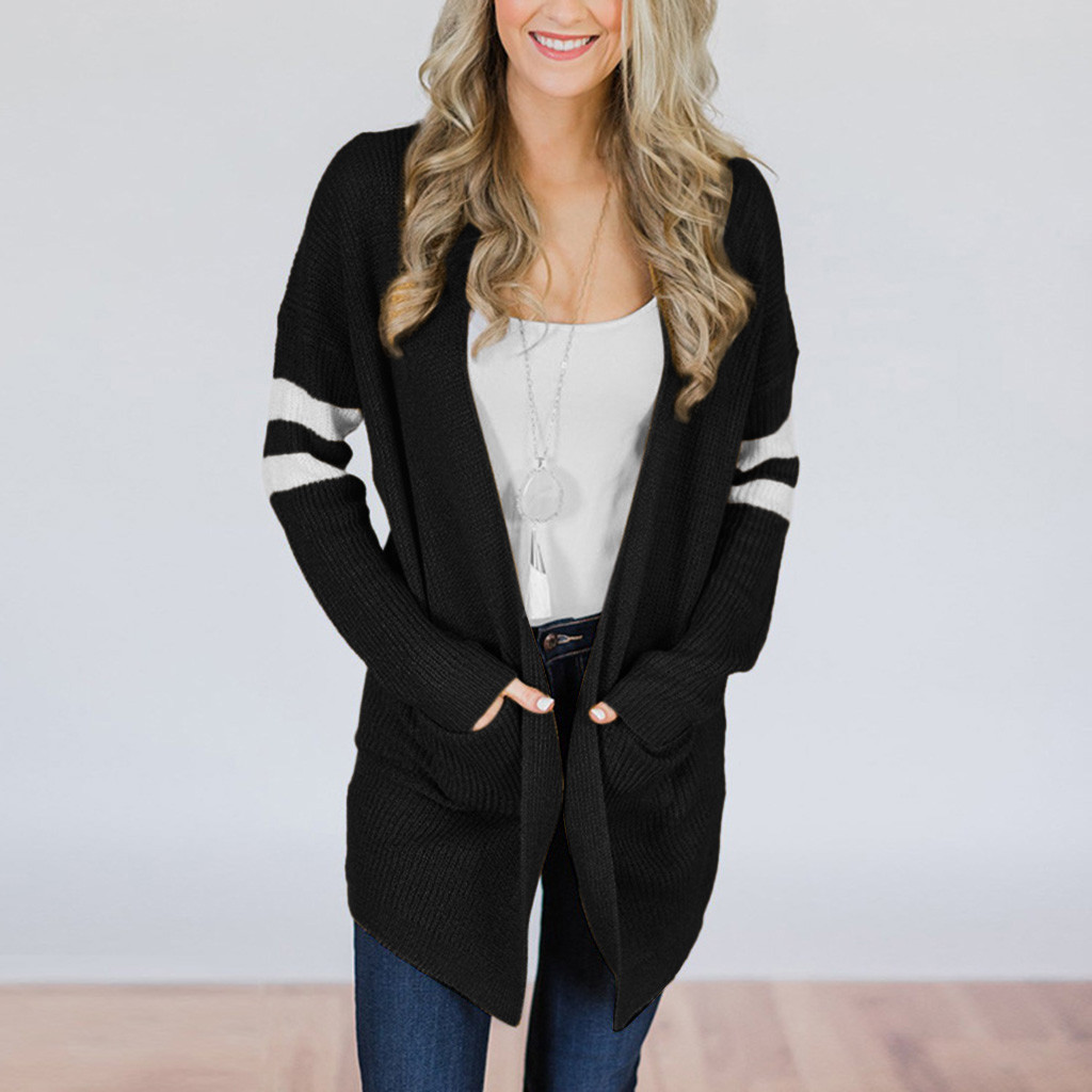 Otoño Invierno mujeres suéteres moda mujeres rayado manga larga suéter  tejido bolsillos largo Cardigan Top abrigo Outwear Venta caliente 91cf64a7e2c7