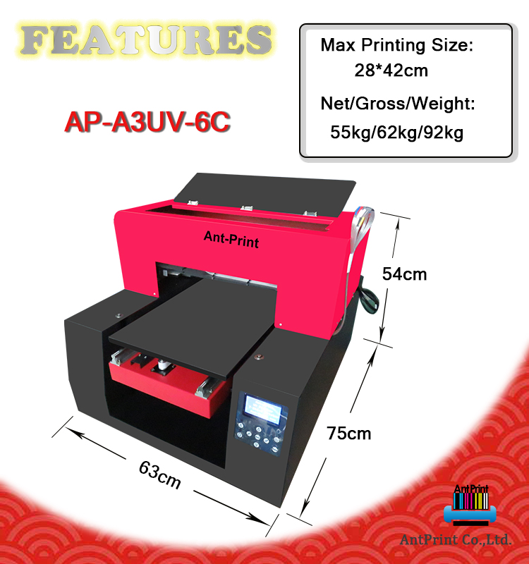 New Technology led Flatbed UV Printer A3 Price China With White Ink Circulation System