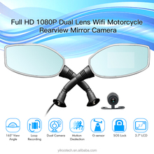Full HD 1080P wifi dual lens rear view camera for motorcycle mirror camera 2 channel motorcycle dvr camera