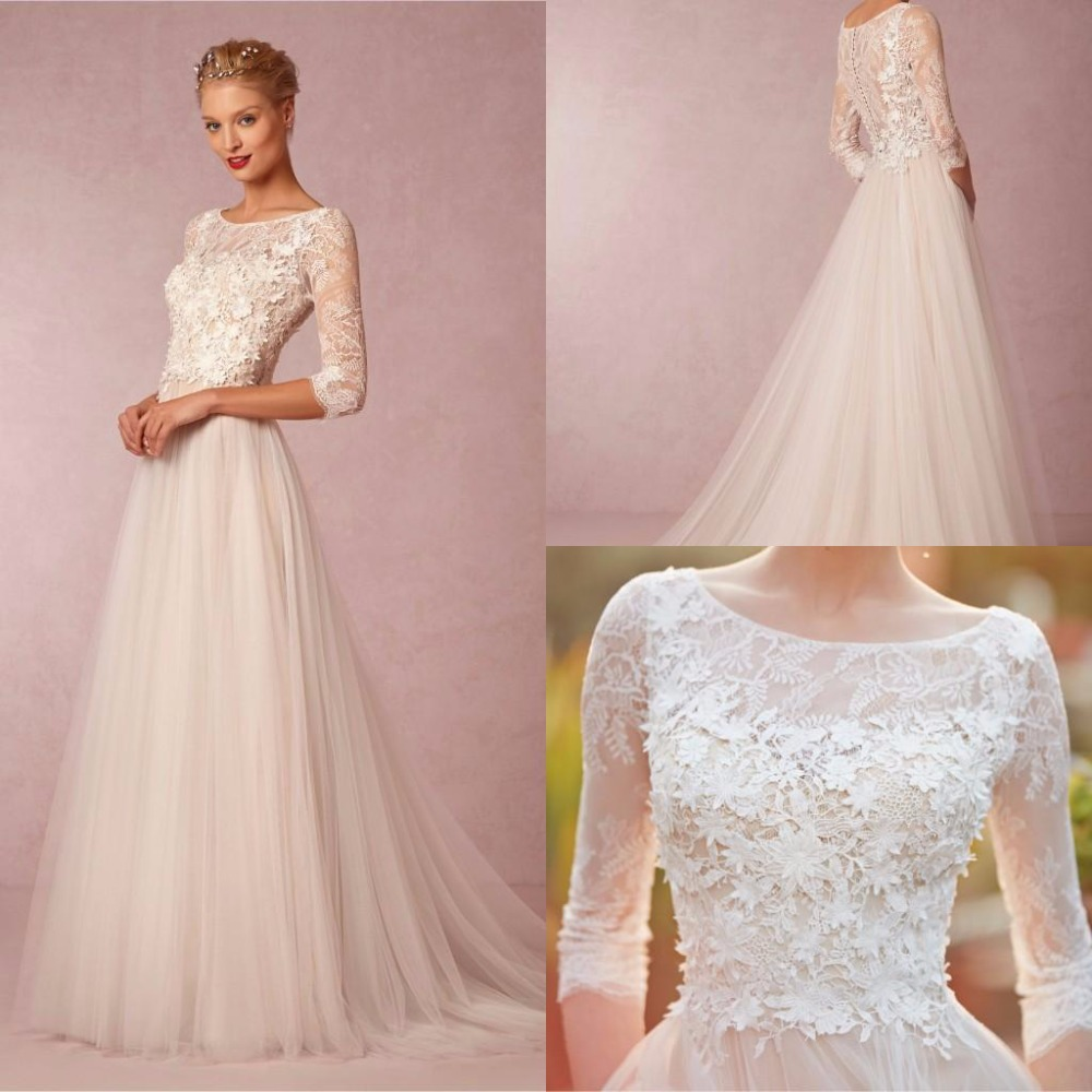 Simple Wedding Dresses With Sleeves: Aliexpress.com : Buy Spring Simple Wedding Dresses A Line