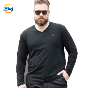 2019 china factory OEM tide fat plus fertilizer to increase compassionate printing long sleeve v neck t shirt for fat man