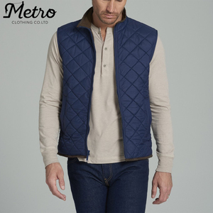Men Warm Navy Blue Quilted Waterproof Vest