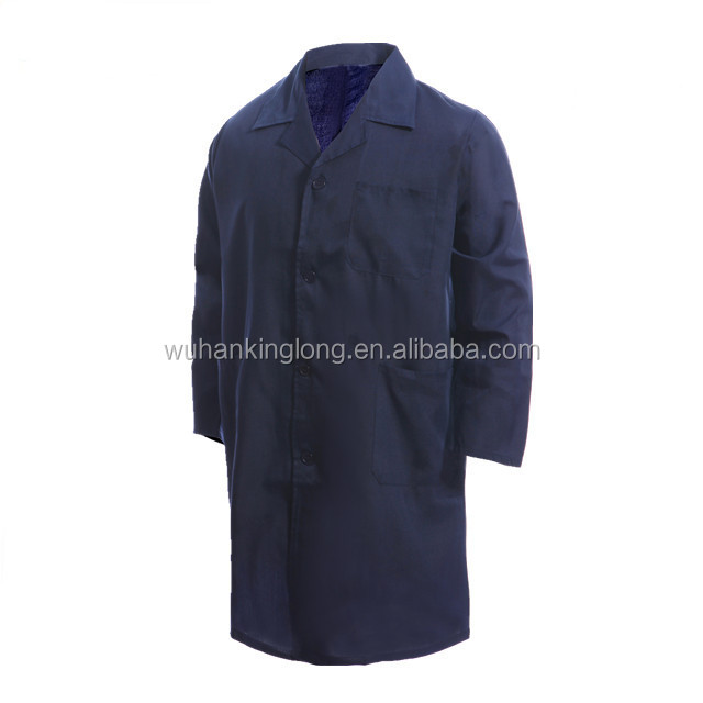 Simple style high quality cotton navy blue lab coat