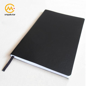 High quality black PU leather paperback appointment book with ribbon bookmark