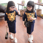 Children Girl Long Dress Set Frock Designs Print Child Clothes For Wholesale