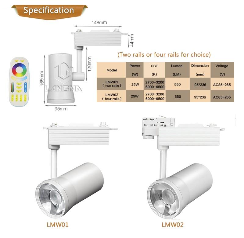 4-phase Cob Led Tracklight White Housing Led Track Light 25w Warm ...