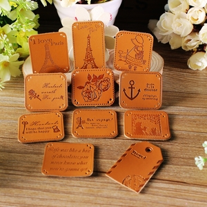 Metal Embossing PU leather /patch/tags for cloth