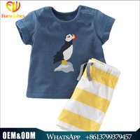 Toddler clothes baby boys clothes sets short sleeve bird print t-shirt striped shorts sets china brand name boys outfits