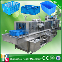 Vegetable basket washing machine, stainless steel turnover plastic basket washer