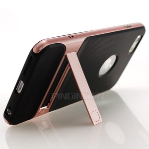 Soft Silicone Hard PC Frame Kickstand Case Rock Protective Phone Case For iPhone 6 Plus