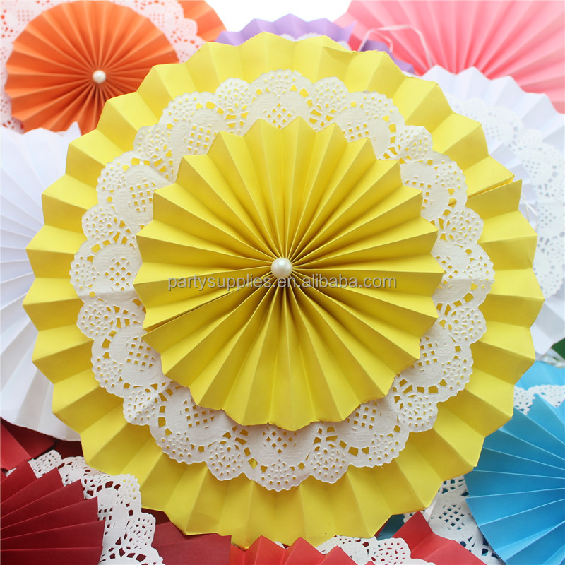 New Design Wedding Party Supplies Hanging Ceiling Paper Decoration Fans