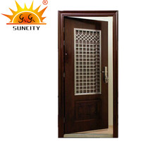 SC-S150 Commercial Steel Security Main Door Design with Grill, Wrought Iron Door Window Grill Design