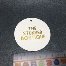 Brand name garment custom printed gold foil merchandise hang tags for clothing