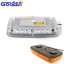 Multiple operating methods led flash mini warning lightbar in amber with magnetic base