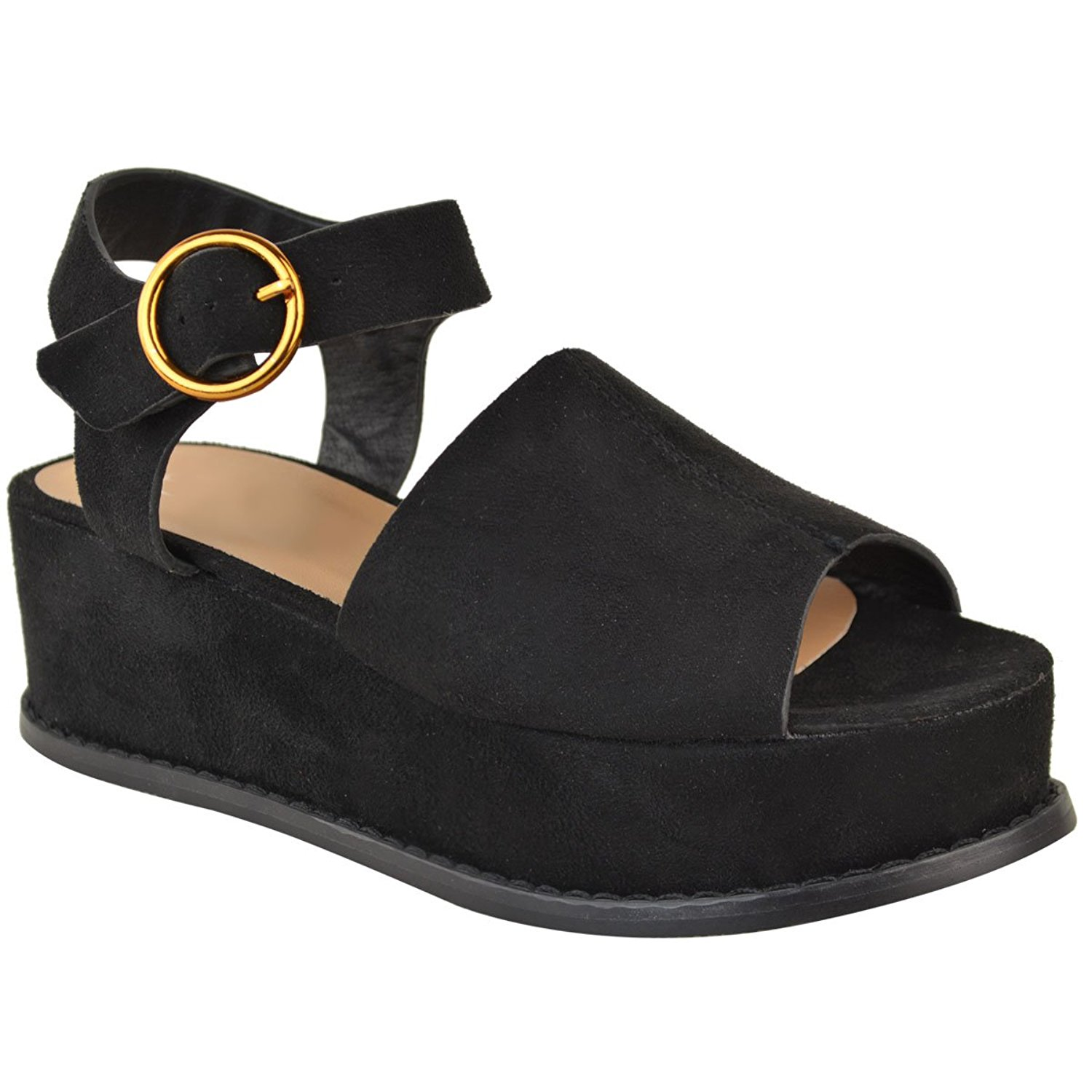 44a733eeb0f5 Get Quotations · Fashion Thirsty Womens Mid Heel Flatforms Wedge Platform Sandals  Open Toe Summer Size