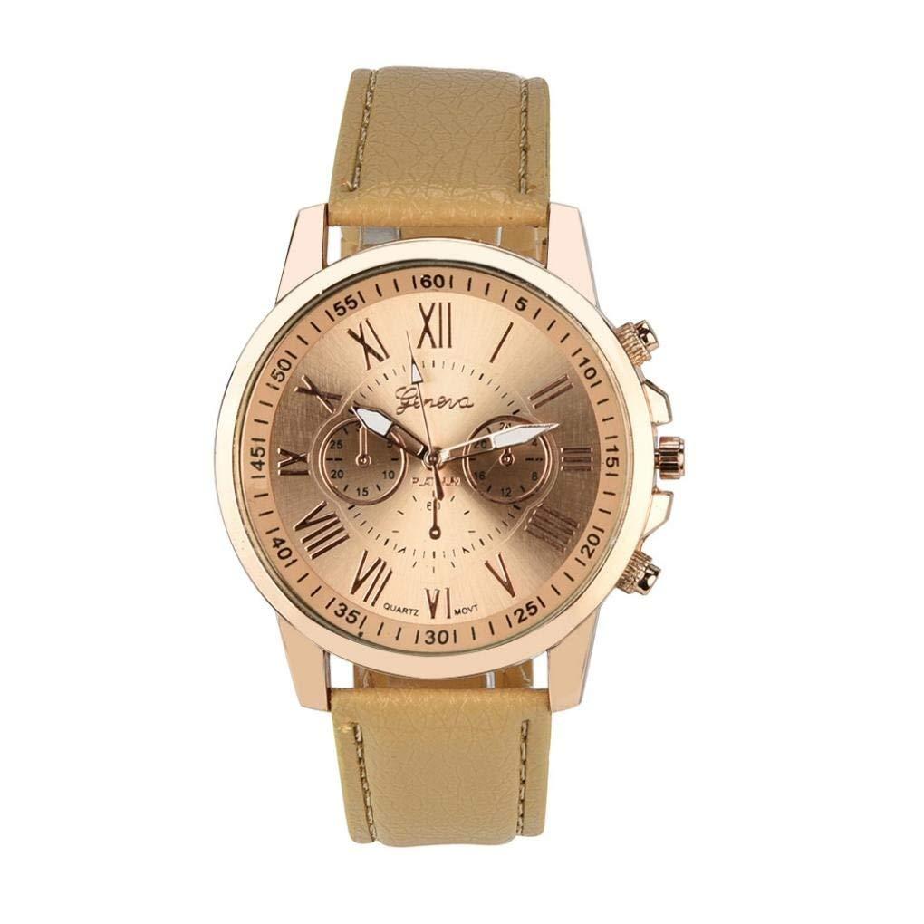 Sinwo Women's Wrist Watch Geneva Roman Numerals Faux Leather Analog Quartz Watch (A)