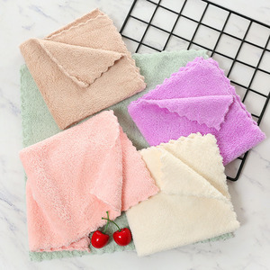 Wholesale Microfiber Coral Fleece Kitchen Cleaning hand towel with ties