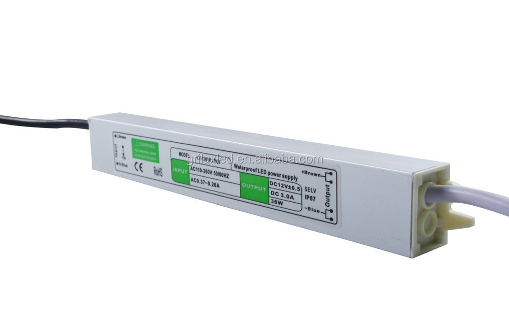 waterproof CE RoHS 12v led strip power supply IP67 shenzhen factory