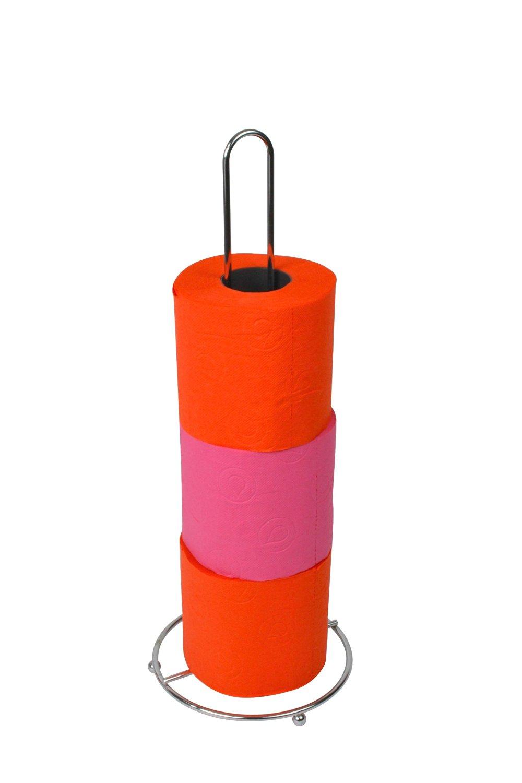 EVIDECO 670199 Metal Bathroom Freestanding Toilet Tissue Paper Roll Holder Reserve 4 Rolls