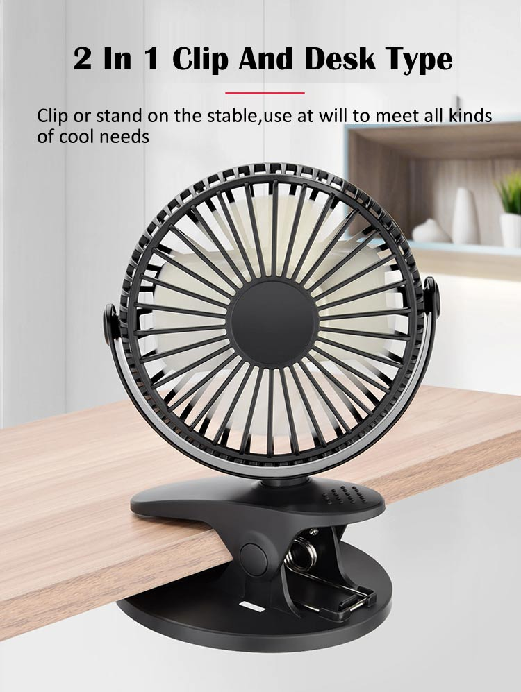 Rechargeable Battery Operated Stand-On Mini Desk Fan Stroller Fan with USB New