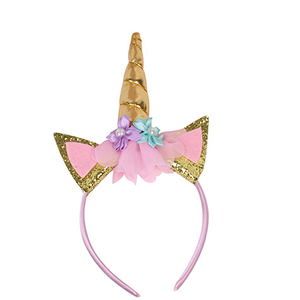 Toddler Gold Plastic Hoops Party Sweet Unicorn Head Band