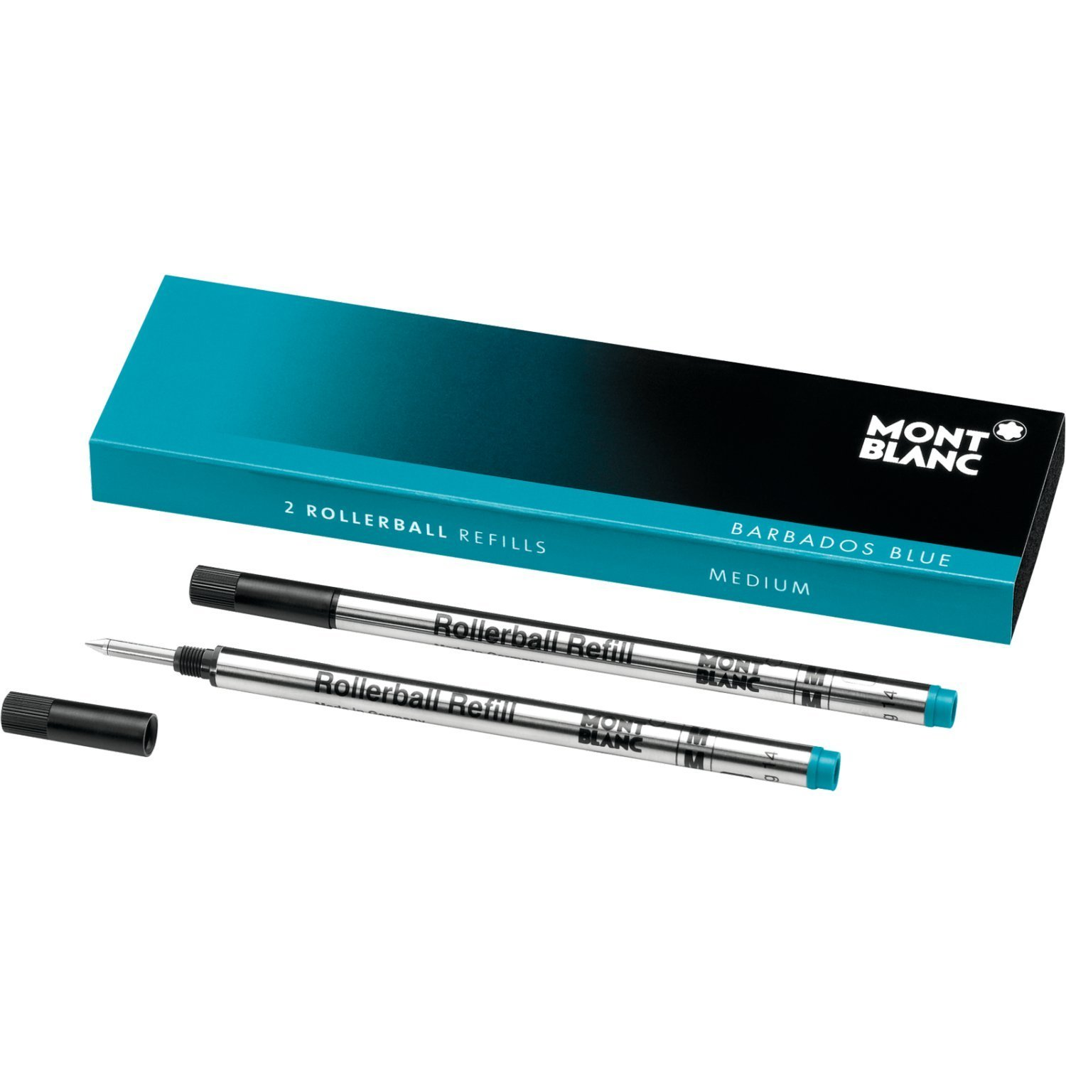 Montblanc Rollerball Refills (M) Barbados Blue 106932 / Quick-Drying Pen Refills for Montblanc Rollerball and Fineliner Pens / 2 x Bright Blue Pen Cartridges
