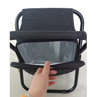 portable fishing stool cooler bag black color with metal shelf foldable for picnic
